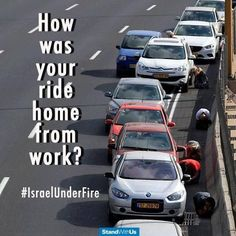 Israel is under fire from rocket attacks. This is what happens when the siren goes off as a missile approaches. How was your drive home from work today?