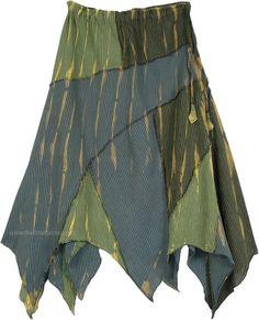 Asymmetrical Cotton Light Summer Skirt in Hippie Green TLB - Cotton Green Clothing > Patchwork Long Skirt Asymmetrical (Patchwork, Misses, Handkerchief, Printed, Halloween) An everyday fun lightweight cotton asymmetrical hem hippie patchwork skirt Tie Dye Skirt, Dress Skirt, Sewing Clothes Women, Hippie Skirts, Fairy Clothes, Full Length Skirts, Patchwork Dress, Hippie Outfits, Summer Skirts