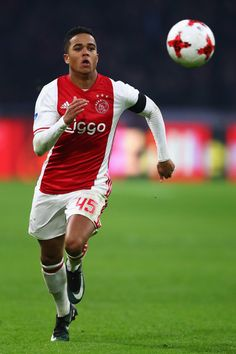 Justin Kluivert of Ajax in action during the Eredivisie match between Ajax Amsterdam and ADO Den Haag held at Amsterdam Arena on January 29, 2017 in Amsterdam, Netherlands.