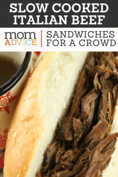 Slow Cooked Italian Beef Sandwiches For a Crowd - Slow Cooked Italian Beef Sand. - Slow Cooked Italian Beef Sandwiches For a Crowd – Slow Cooked Italian Beef Sandwiches For a Crow - Sandwich Bar, Deli Sandwiches, Hot Sandwich Recipes, Roast Beef Sandwich, Italian Beef Sandwiches, Dinner Sandwiches, Healthy Sandwiches, Slow Cooking, Cooking For A Crowd