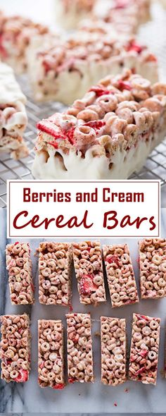 Berries and Cream Cereal Bars Sweet Breakfast, Breakfast Dishes, Breakfast Ideas, Breakfast Cereal, Breakfast Recipes, Gourmet Recipes, Snack Recipes, Dessert Recipes, Snacks