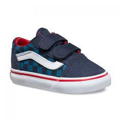 f69419d2a9 Kickin  it old school in these rad Vans! Vans Old Skool V Toddler shoes  (checkerboard blue navy)   New Arrivals   Black Wagon
