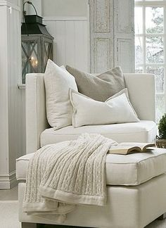 When I get a new place, I'm buying a square chair like this one, donning a cream throw blanket and tossing in some grey and white pillows. #Furniture