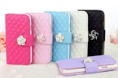 Camellia Wallet Girl Flip Cover Case Stand Wristlet Cover For iPhone 4S 5 S3 S4