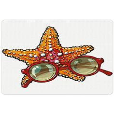 Starfish Pet Mats for Food and Water by Ambesonne, Hand Drawn Starfish and Round Sunglasses Tropical Summer Holiday Theme Sketch, Rectangle Non-Slip Rubber Mat for Dogs and Cats, Multicolor *** Want additional info? Click on the image. (This is an affiliate link) #DogFeedingWateringSupplies