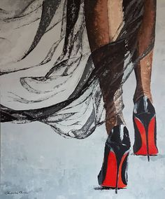 """""""Devil"""" Acrylic on canvas 36""""x30"""", palette knife, available... Second piece of the shoe collection. There will be one more, one day...…  #shoes #redsoleshoes #palletknifepainting #contemporaryart"""