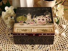 """Jewelry ,  tea box """"Charme à la française"""" /Art Deco / Decoupage technique box vintage looking. Shabby chic .  Unique.. $79.00, via Etsy."""
