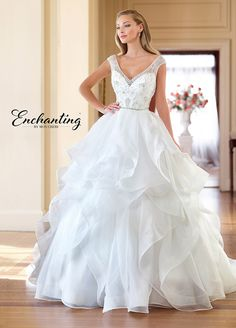 7fefe51f2fd Tulle   Ruffled Organza Ballgown with Beaded Illusion Cap Sleeves- 218178.  Outdoor Wedding DressWedding ...