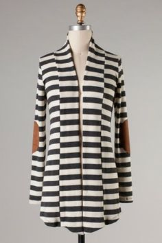 In Paris Striped Cardigan-Charcoal