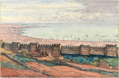 Walls of Thessaloniki by Charles Martel (1919).1 Thessaloniki, Archaeology, Greece, Vintage World Maps, Painting, Walls, Art, Photos, Greece Country