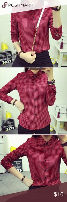 "🔥NEW🔥Red Women Fashion Button Plaid shirt M New with tag Asian Imported  ❗️LAST PRICE❗️Asian tagged XL fits US M , cotton blend   Measurements   Shoulder 16.3"", Pit to Pit 19.7"", waist 19"", Sleeve length 24.5"", length 27"" Asian Tops Button Down Shirts"