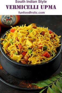 Vermicelli Upma is a terrific easy to prepare Indian breakfast recipe. It is super simple to prepare and fits perfectly under the criteria of an ultimate comfort breakfast cum snack via funfoodfrolic.com #breakfastrecipes #breakfast #indian #vegetarian #vegetarianrecipes #snacks #easyrecipe