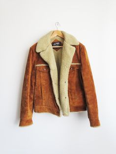 Shearling Suede Coat // 1970s Vintage Suede Jacket