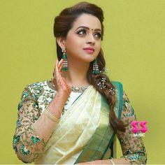 Looking for puff sleeve blouse designs for sarees? Here are our picks of 21 amazing blouse designs you can wear with any saree. Latest Saree Blouse, Pattu Saree Blouse Designs, Bridal Blouse Designs, Kolkata, Bhavana Actress, Indian Actress Photos, Stylish Sarees, Most Beautiful Indian Actress, Beautiful Saree