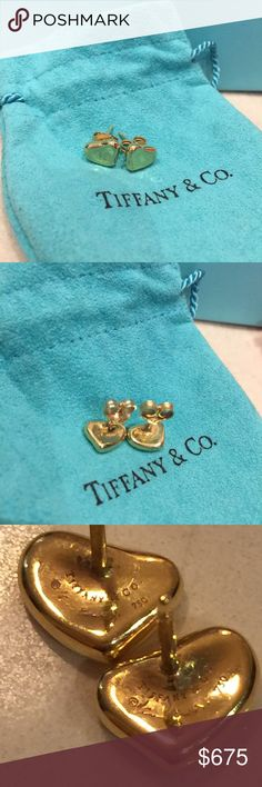 ✨Final Price✨Elsa Peretti Full Heart Earrings Authentic Elsa Peretti Full Contour Heart Earrings. 18K Yellow Gold. Branded 750. Purchased at Tiffany & Co. Boutique on Fifth Avenue in NYC more than 10 Years Ago. Very Faint Wear. Very Good Condition. Note: Post Backs are Replacements (Not Marked Tiffany) Handled With Care. No Receipt. Original Owner. Comes With Pictured Tiffany Blue Box, Dustbag and Tiffany Blue Bag. Can't Find White Ribbon or Velvet Box. BEAUTIFUL!✨✨TV Higher. Tiffany & Co…