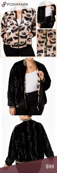 """NWT 2x REVERSIBLE Melissa McCarthy faux fur plus Bust 27"""" long 32"""" approx  With plush faux fur on one side and a fun eye print on the other, this reversible bomber offers up double style points. The sporty baseball collar leads to a gilded zip-up placket, and ribbed edges offer texture contrast at the neck, cuffs, and hem. Concealed hip pockets complete the design. Super soft . An absolute steal!! Msrp 169$ Melissa McCarthy Jackets & Coats"""