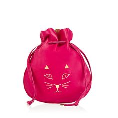 PRECIOUS POUCH|POUCH|Charlotte Olympia HANDBAGS Secure your treasures in Precious Pouch. This oversized hot pink leather jewelry pouch is embellished with the signature CO Kitty to charm away intruders.