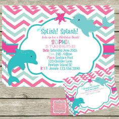 Dolphin Pool Party Invite Pink Aqua Chevron by PartyPoshPrintables