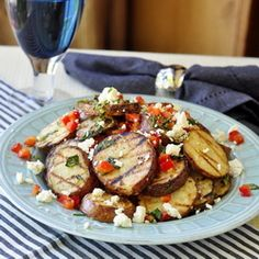 Warm Grilled Potato Salad with Lemon and Oregano. A tasty, warm grilled potato salad with plenty of bright fresh flavours in the dressing and finished with some crumbled feta cheese. Barbecue Sides, Barbecue Side Dishes, Bbq, Rock Recipes, Great Recipes, Favorite Recipes, Easy Recipes, Grilling Recipes, Cooking Recipes
