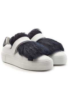 MONCLER Leather Sneakers With Lamb Fur. #moncler #shoes #