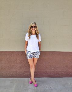 pink shoes with girly outfit - Patterned Shorts - Daytime Dressy Outfit