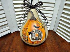 Handpainted Primitive Autumn Pumpkin Sheep Fall Gourd Autumn Painting, Hand Painting Art, Primitive Autumn, Painted Gourds, Gourd Art, Fall Pumpkins, Sheep, Carving, Hand Painted
