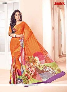 Sensible colors and excellent designs and romantic moods are reflected with an alluring style. This orange georgette casual saree add the sense of elegant and glamorous. The lovely lace and print work...