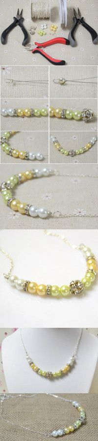 Tutorial for Chunky Pearl Necklace with Rhinestone and Chain from LC.Pandahall.com