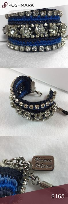 """New☃️ Vanessa Arizaga Bracelet This beautiful handmade bracelet by Vanessa Arizaga is 6"""" silver plated brass hardware with a 1.5"""" extension. Blue & navy thread work with Swarovski crystals. Vanessa makes her bracelets by hand weaving her thread work between the crystals. 7 3/4"""" at longest extension. New, never worn. Vanessa Arizaga Jewelry Bracelets"""