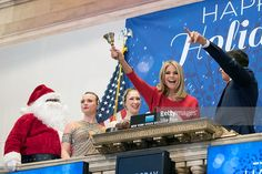 Christie Brinkley rings the closing bell during the 93rd Annual New York Stock Exchange Christmas Tree Lighting at New York Stock Exchange on December 1, 2016 in New York City.