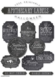 Every good witch or wizard needs a fine set of apothecary labels for some playful Halloween decorations. Here is a set that will keep your potion making ingredients in order free printable halloween labels Halloween Potions, Spooky Halloween, Holidays Halloween, Halloween Crafts, Halloween Apothecary Labels, Halloween Design, Halloween Bottle Labels, Rustic Halloween, Halloween Drinks