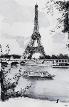 """Paris reproduction, """"La Tour Eiffel et la Seine"""" - Aquarelle paris, Peinture Tour Eiffel, Impression Eiffel Tower Drawing, Eiffel Tower Painting, Eiffel Tower Art, Paris Drawing, Art Parisien, Paris Painting, Painting Art, Ville France, Tours"""