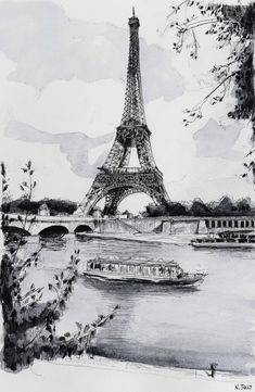 La Seine et la Tour Eiffel. Black ink drawing. By Nicolas Jolly. #drawing #watercolor #painting #art*
