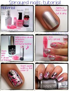 """Sprayed manicure   Nailderella <<however, I recently did a manicure with similar results using a straw... you can see a picture on the board """"my nails"""" ~h.l.>>"""