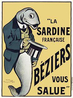 Beziers Sardines poster by French illustrator Benjamin Rabier (1864-1939). via Vintage Venus