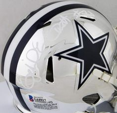 d6b86a12f8d Ezekiel Elliott Autographed Dallas Cowboys Chrome Mini Helmet- Beckett Auth  White