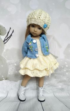 Outfit for Doll Dianna Effner Darling, Knitted Clothes Dress Handmade Knitting Dolls Clothes, Baby Doll Clothes, Crochet Doll Clothes, Doll Clothes Patterns, Barbie Clothes, Baby Dolls, Reborn Dolls, Reborn Babies, Knitted Doll Patterns