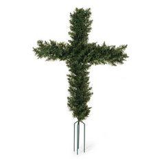 22 inch Cross Shape Artificial Wreath