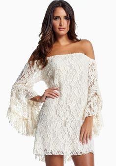 White Plain Long Sleeve Wrap Lace Mini Dress