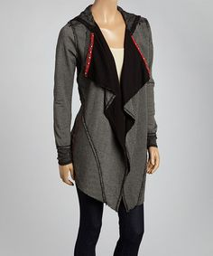 Look what I found on #zulily! Black Sheer Mesh Lace Hooded Open Cardigan by Jack & Jinger #zulilyfinds
