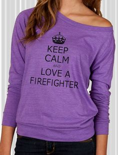 Items similar to Keep Calm And Love Your Firefighter Glitter Racer Tank Top on Etsy, a global handmade and vintage marketplace.