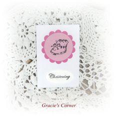 Baby girl Christening gift card by GraciesCorner on Etsy, £0.75