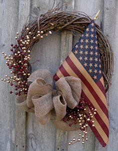 Americana Wreath, Patriotic Wreath, Berries, 4th of July, Tea Stained Flag. $119.00, via Etsy.