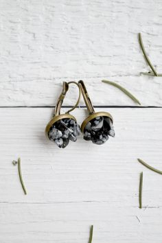 Snowflake Obsidian Earrings -  Snowflake Obsidian Natural Stone - Black and White Earrings - Rustic Gemstone Jewelry by TinyMountainsDesigns on Etsy