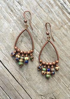 Copper Hoop Earrings / Bohemian Earrings / Boho Copper Jewelry