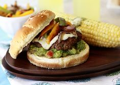 Fajita Burger with Peppers, Onions and Guacamole by goodlifeeats #Burger #Fajita