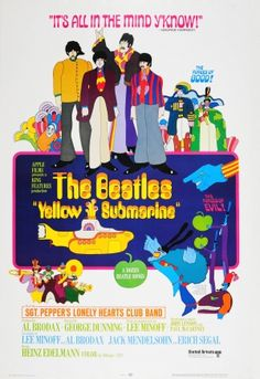 The Beatles Yellow Submarine, 1968 - original vintage movie poster by Heinz Edelmann for the animated film The Beatles Yellow Submarine starring Sgt. Pepper's Lonely Hearts Club Band and directed by George Dunning listed on AntikBar.co.uk #AnimationDay