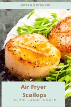 Air Fryer Dinner Recipes, Air Fryer Recipes Easy, Air Fryer Fish, Air Fryer Steak, Frozen Scallops, Air Frier Recipes, Air Fryer Healthy, Spoon, Seafood Dishes