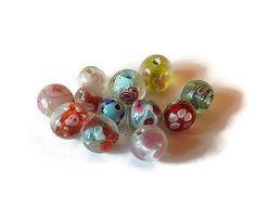 Perles verre rondes mélange tailles, couleurs - lot 12 perles verre rondes : Perles en Verre par mamiechantal-screations