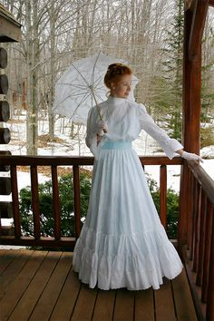 Snowdrop Edwardian Eyelet Lace Gown by Recollections. Dreamy white cotton eyelet lace dress with a lining in soft cotton is styled from the Edwardian era.  #Recollections #EdwardianDress #EyeletDress #MadeInUSA #PlusSizes #WhiteDress #MovieCostume #TheatreCostume #LARP #LivingHistory #HisoricalInterpeter Edwardian Gowns, Edwardian Fashion, Vintage Fashion, Edwardian Style, Victorian Dresses, Victorian Gothic, Vintage Beauty, Edwardian Clothing, 1920s Style